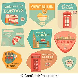 London. English Stickers Collection with British theme....