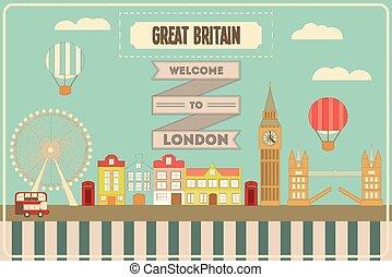 London. English Postcard with British theme. Vector...