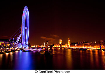 London Eye and Big ben at Night - LONDON - April 15: London...