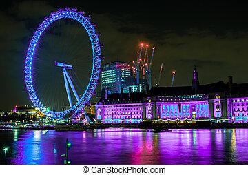 London Eye colorful at night