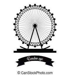 London Eye Icon United Kingdom Design Vector Graphic