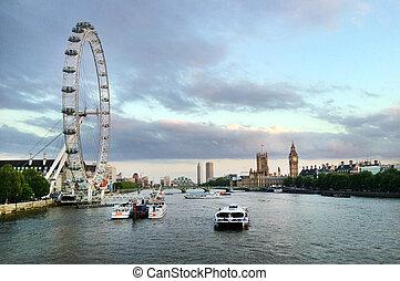 London Eye - London UK - LONDON - MAY 12 2015:Thames river...
