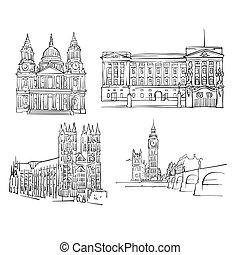 London Famous Buildings, Monochrome Outlined Travel...