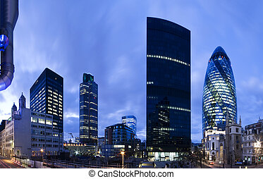 Evening time shot of London`s financial district. Including Tower 42 and Gherkin.