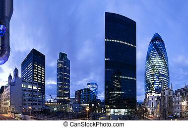 london, finansiell stadsdel, hos, twilight.