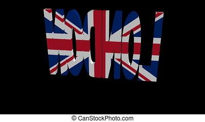London flag text rotate animation