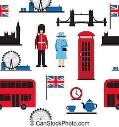 london flat-01 - Set of London main attractions isolated on...