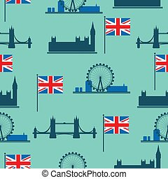 london flat-03 - Set of London main attractions isolated on...