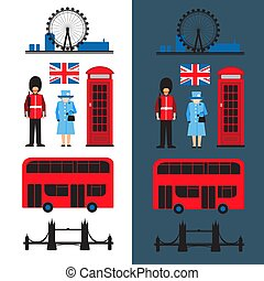 london flat-11 - Set of London main attractions isolated on...
