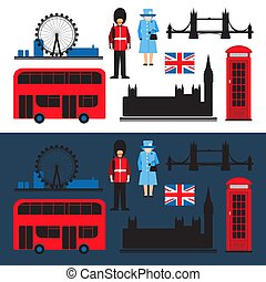 london flat-12 - Set of London main attractions isolated on...