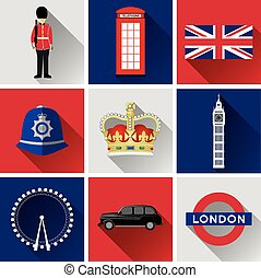 London Flat Icon Set - Set of vector graphic glossy buttons...
