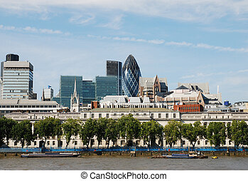 London Gherkin Cityscape - The cityscape of London including...