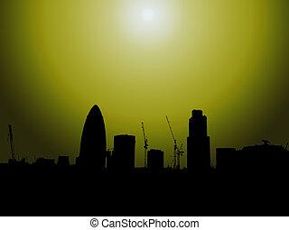 London Gherkin Skyline Silhouette - The London skyline in...