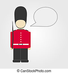 London guard with comic ballon. Isolated. Copy space.