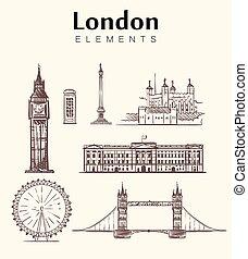 london, hand-drawn, állhatatos, vektor, skicc, illustration., épület.