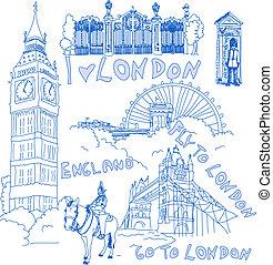 London Handdrawn Doodles - Set of famous London Landmarks in...