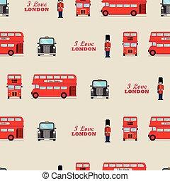 London iconic symbols seamless pattern