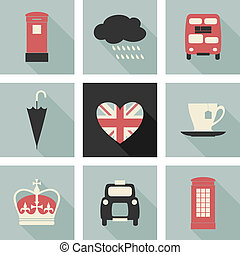 London Icons Collection - A set of long shadow flat design...