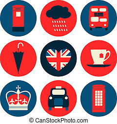 London Icons Collection - A set of nine flat design icons...