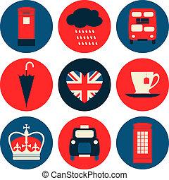 A set of nine flat design icons with London symbols.