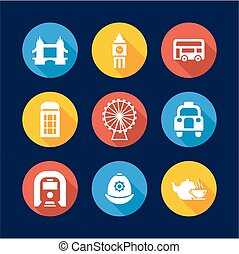 London Icons Flat Design Circle - This image is a...