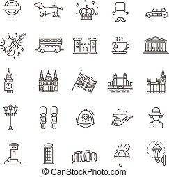 London icons set. England, thin line design - Themed icons...