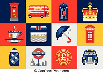 London icons set, traditions symbols of England colorful vector Illustrations