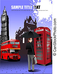 London images background. Colored Vector illustration for designers
