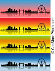 London in four seasons - London silhouettes in different...