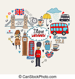 London in my Heart or I Love London card design with landmark icons arranged in a heart shape including a beefeater Sherlock Holmes Big Ben Tower Bridge bus and London taxi cab, vector illustration