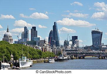 london, keresztül, thames folyó