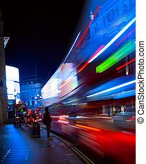 london, kunst, nacht, verkehr, stadt