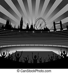 london, láthatár, vektor, -, stadion