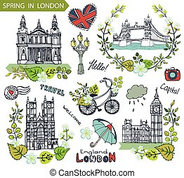 London landmark. Spring green leaves wreath group