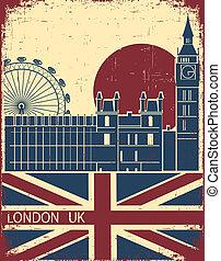 London landmark. Vintage background with England flag on old...
