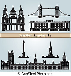 London landmarks and monuments isolated on blue background...