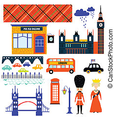 London landmarks and symbol set funny design illustration