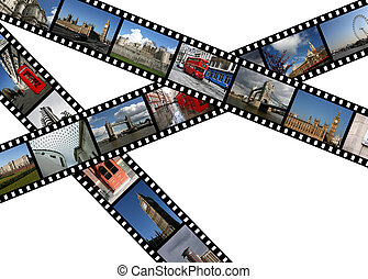 London landmarks - Illustration - film strips with travel...