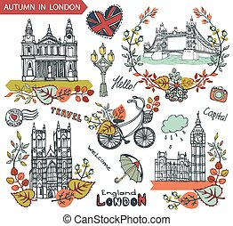 London landmarks - London Famous landmarks with autumn...