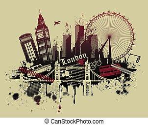 London landmarks in grunge style