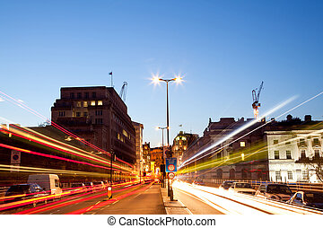 London Light trail - London Cityscape with Road Light Trail...