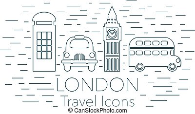 London linear banner, landmarks, tourism, travel concept,...
