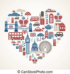 London love - heart with many vector icons - Heart shape...