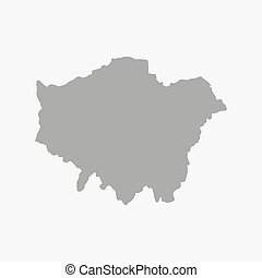 London Map in gray on a white background