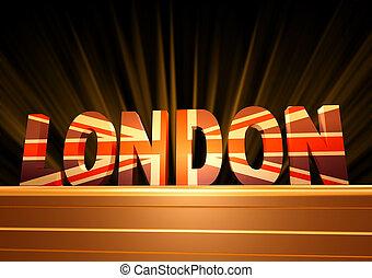 london, med, brittisk flagga