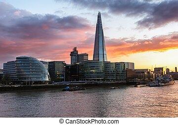 London modern skyline - Dusk on the new London skyline, view...
