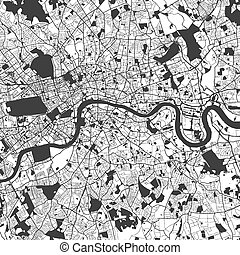 London Monochrome Map Artprint, Vector Outline Version,...