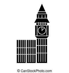 london, nagy ben, ikon, vektor, ábra, fekete, aláír, képben látható, elszigetelt, háttér