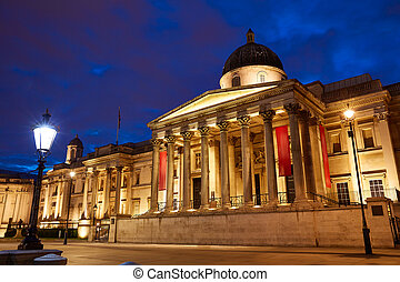 London National Galelery in Trafalgar Square at sunset...