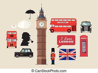 London national symbols vector set
